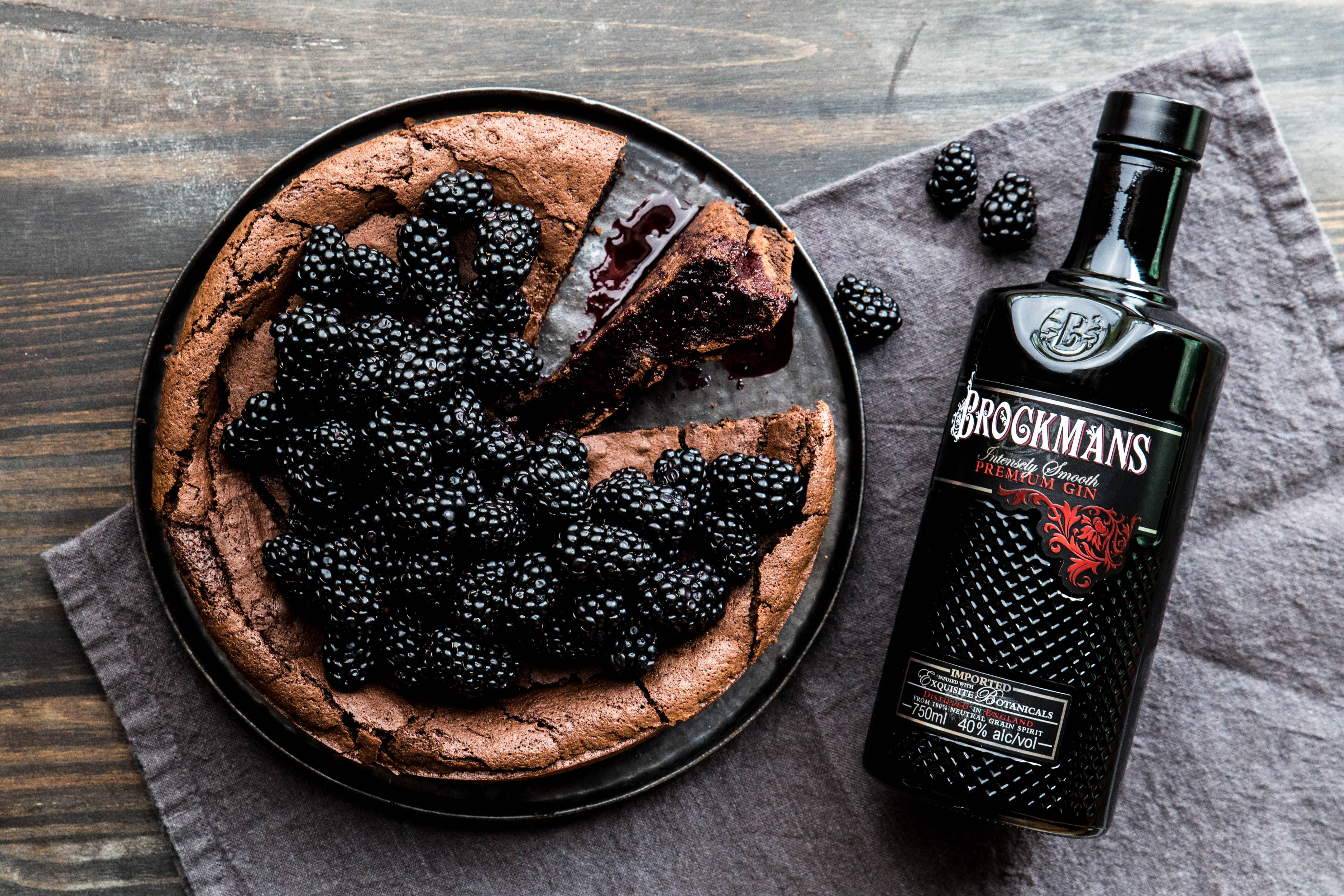 Chocolate Flourless Cake with Brockmans Berry Sauce