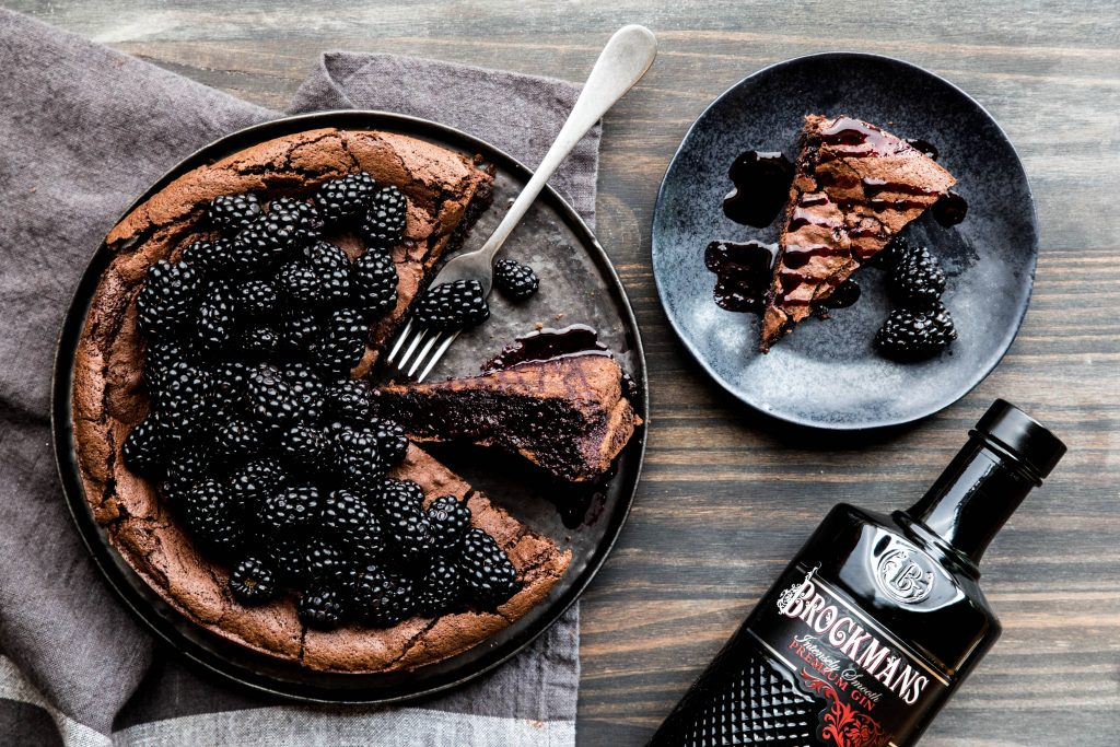 Chocolate Flourless Cake with Brockmans Berry Sauce