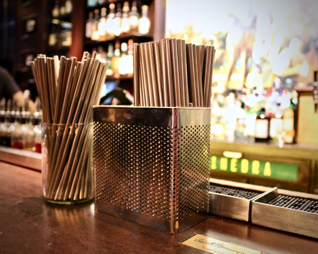 At Blacktail and Dead Rabbit, bartenders use metal straws exclusively for tasting each cocktail before it is served.