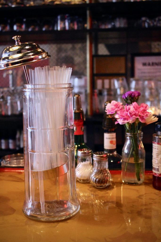 Instead of plastic straws, bartenders at Butter and Scotch use compostable straws in all highball drinks, no questions asked.