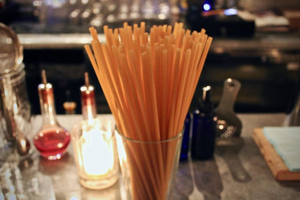 At Honey's in Bushwick, Brooklyn, instead of a plastic straw, the one highball on their cocktail menu gets a bucatini straw.