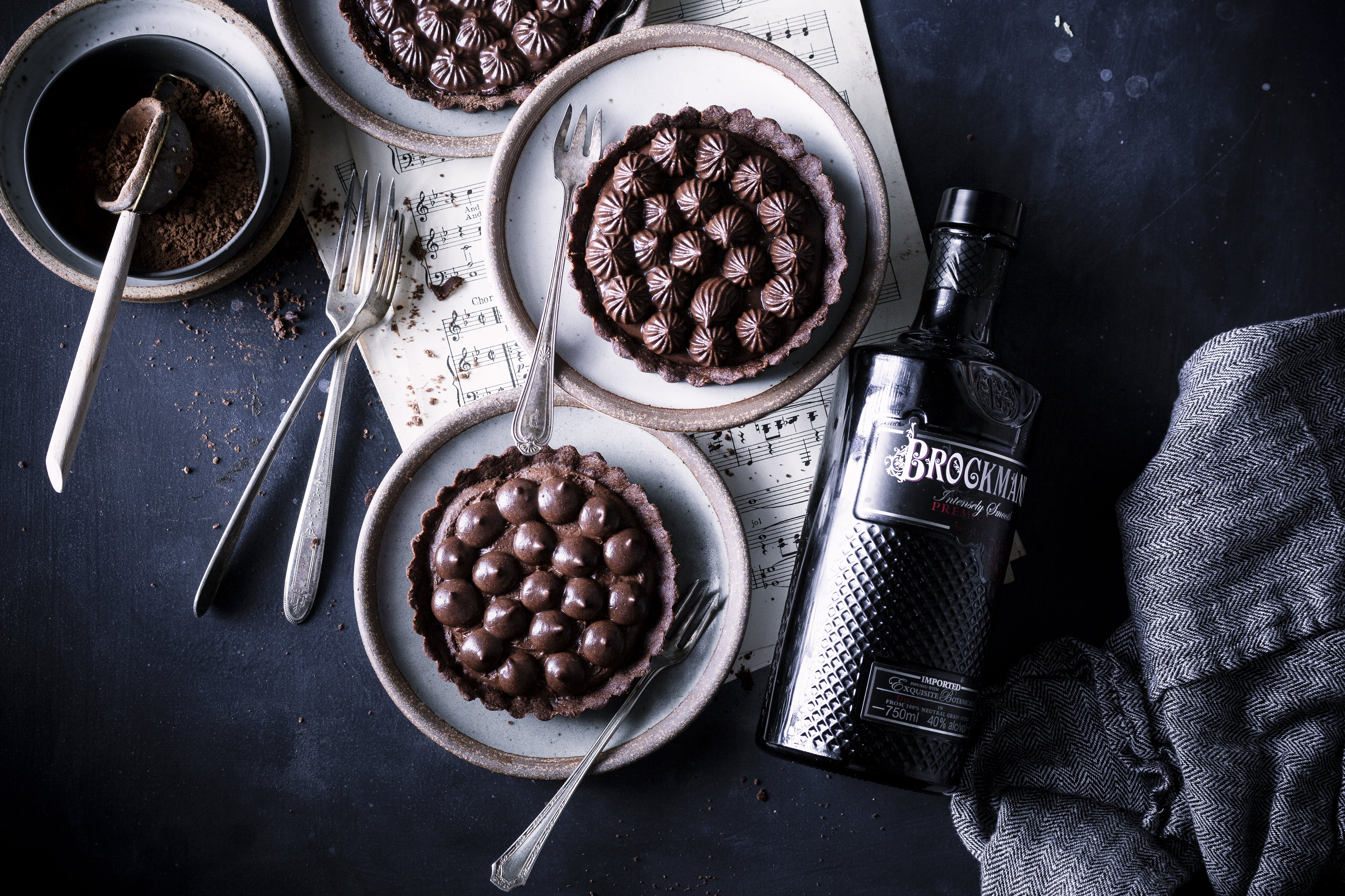 Brockmans Gin Infused Mousse Chocolate Tart
