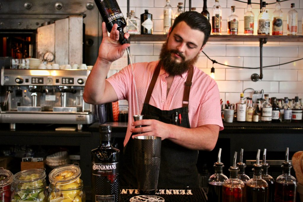 Max Fiore makes his unnamed fall Brockmans cocktail at Olives and Oil in New Haven, Connecticut