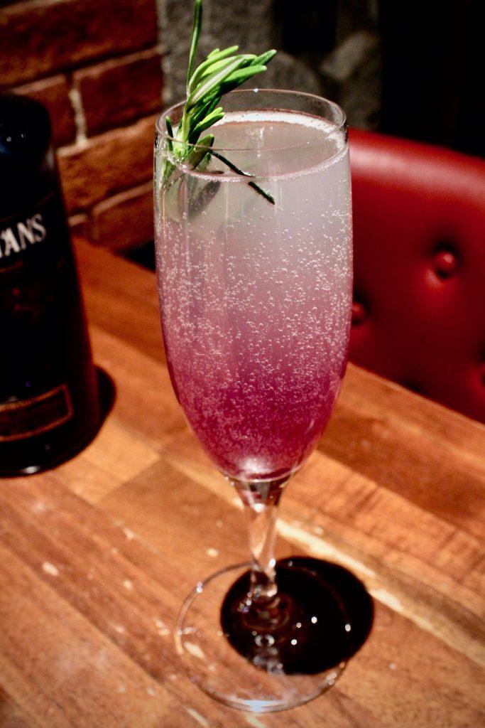 The Purple Haze cocktail at Alibi in Boston, Massachusetts.