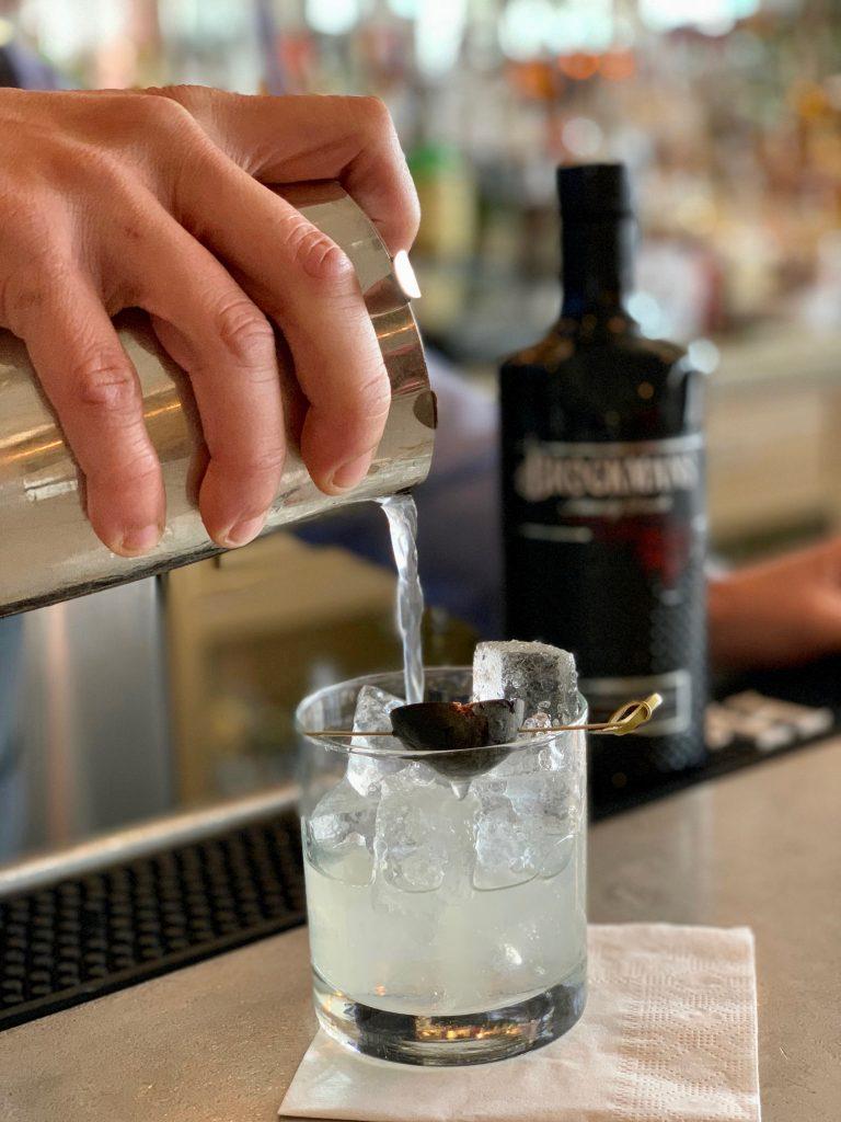 "Michael Kolesar makes his Brockmans cocktail, ""La Dulce Vita"", at L'escale in Greenwich, Connecticut"