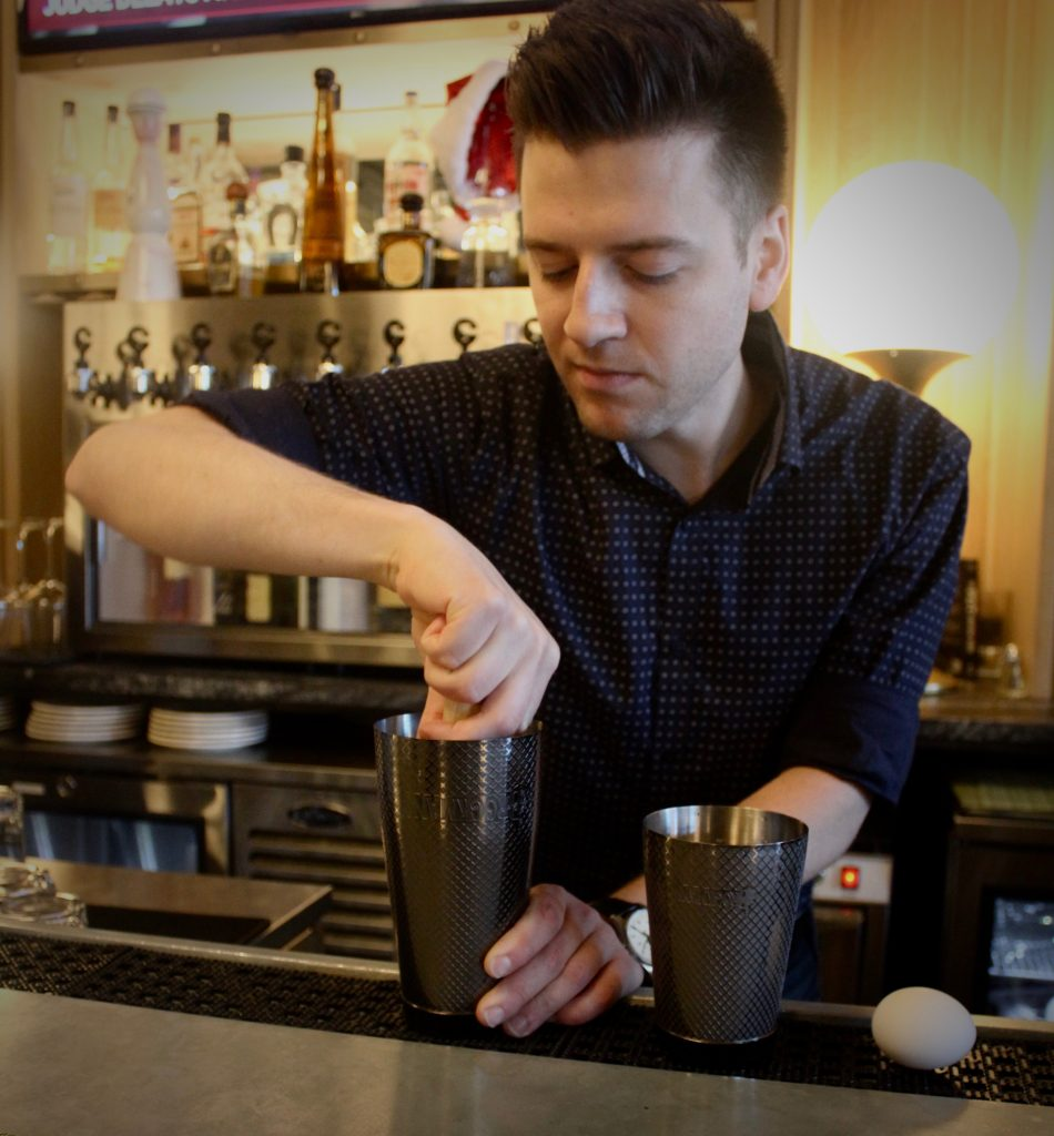 Ian Swindlehurst makes his Brocktail, the Dutch Club, at Explorateur in Boston.