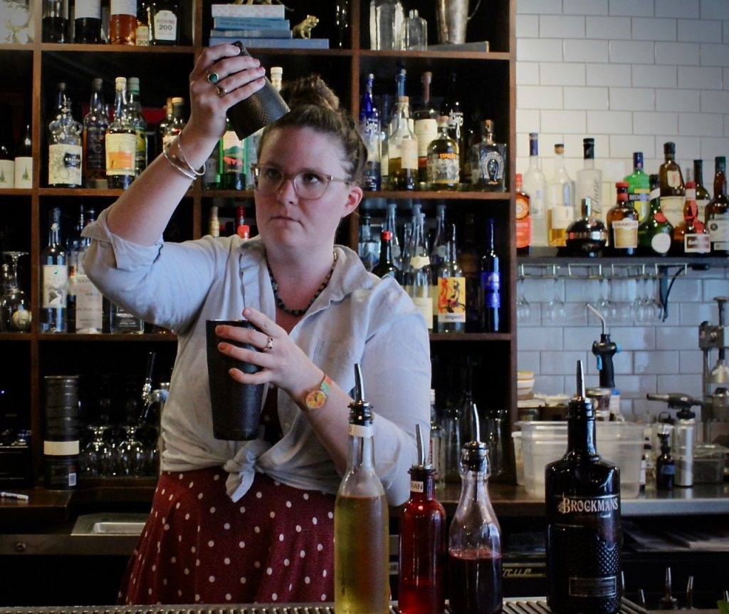 Emily Morton makes her Brockmans Cocktail, Mr. Willard's Mistress, at Deli/126 in Burlington, Vermont