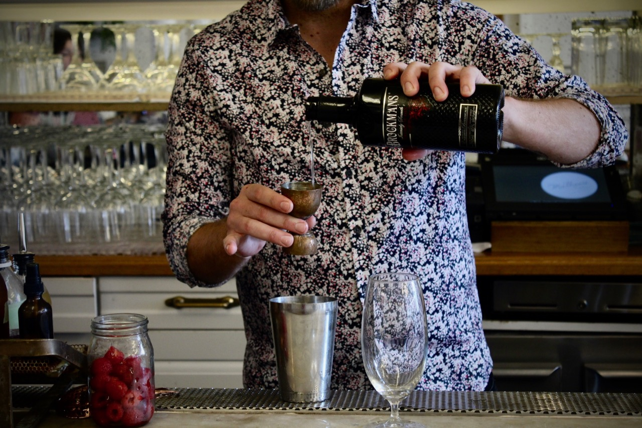 Steven Nichols makes his winning Brocktail, the Raspberree's Knees, at Mathews Food + Drink in Jersey City, New Jersey.