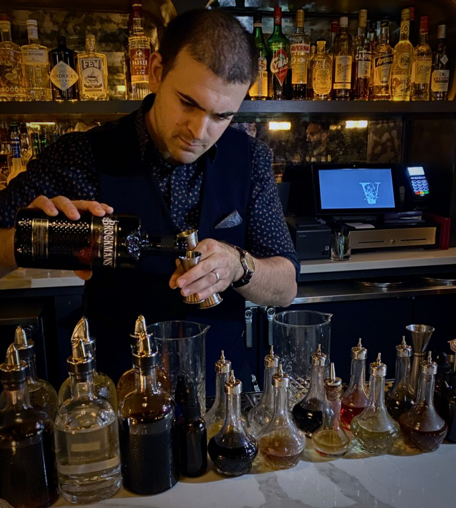 "Brendan O'Sullivan makes his Brockmans creation, the ""Melody Lane"", at Valerie in New York City"