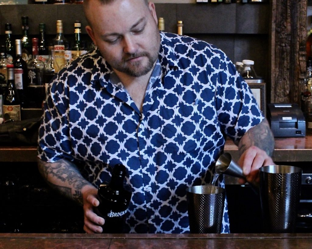 "Roger Gross makes us the ""Gully Juice"", his Brockmans Gin cocktail at Sherkaan Indian Street Food in New Haven, Connecticut."