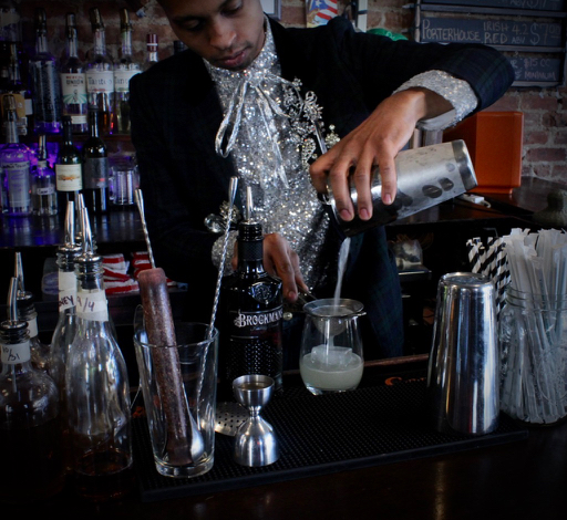 "Dillon Locke makes his Brockmans cocktail, the ""Windowpane,"" at The Bad Old Days in Ridgewood, Queens"