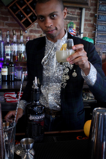 """Dillon Locke makes his Brockmans cocktail, the """"Windowpane,"""" at The Bad Old Days in Ridgewood, Queens"""
