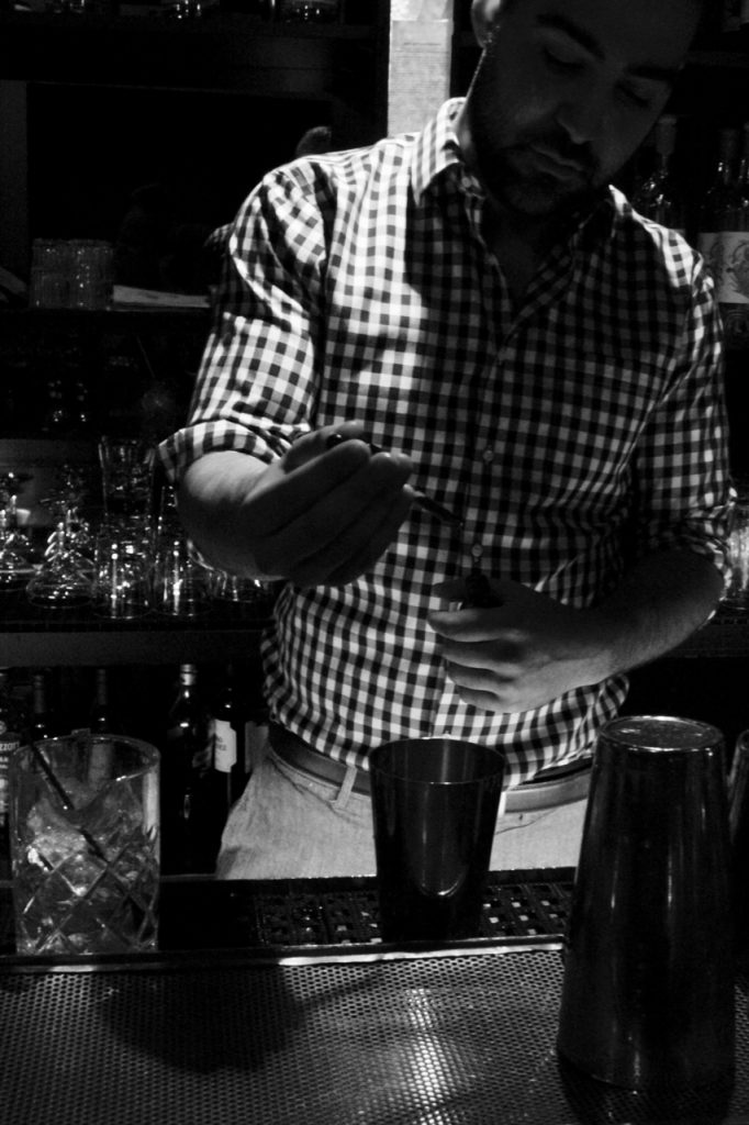 Dan Suro makes two Brockmans cocktails with agave at Encima in Philadelphia, Pennsylvania